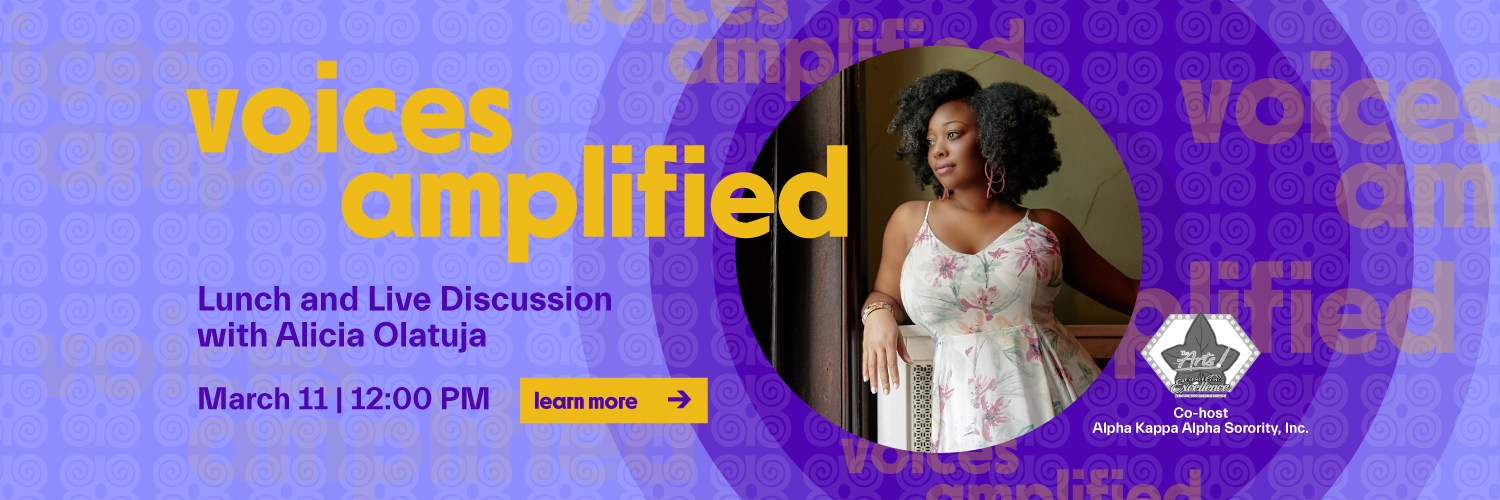 alicia olatuja voices amplified lunch and live discussion, march 11 at noon