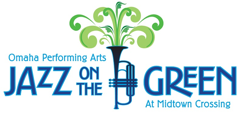 "logo that says ""jazz on the green"" with instrument and trees"