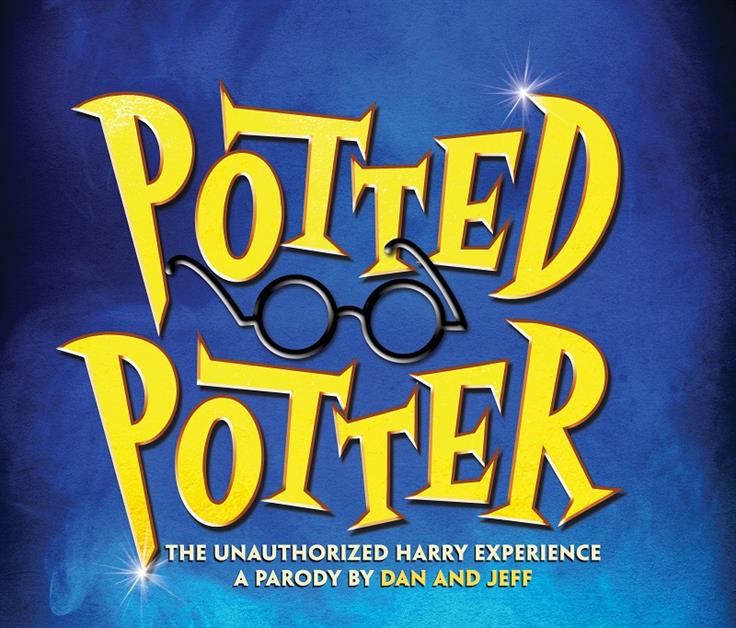 "Blue background with yellow text reading: ""Potted Potter"""