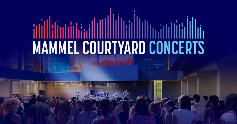 "Crowd at a concert with the text: ""Mammel Courtyard Concerts"""