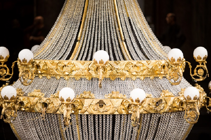 A close up of the glittering chandelier made for PHANTOM, featuring 6,000 crystal beads.